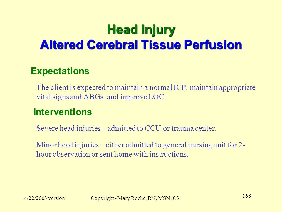 Head Injury Altered Cerebral Tissue Perfusion