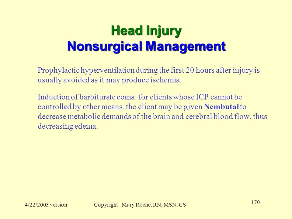Head Injury Nonsurgical Management