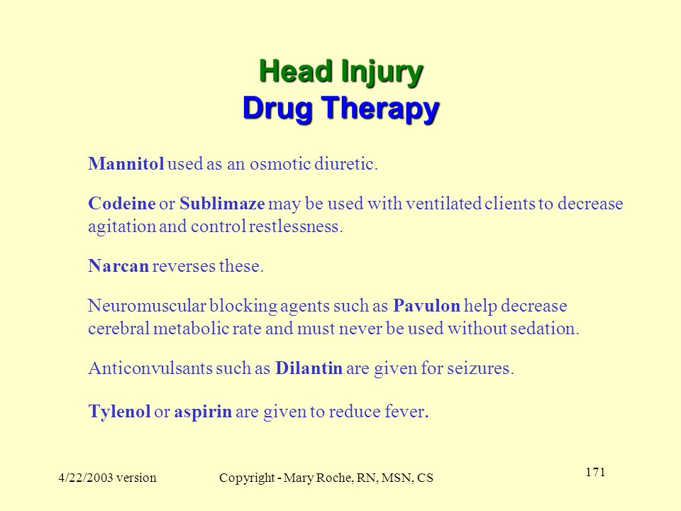 Head Injury Drug Therapy