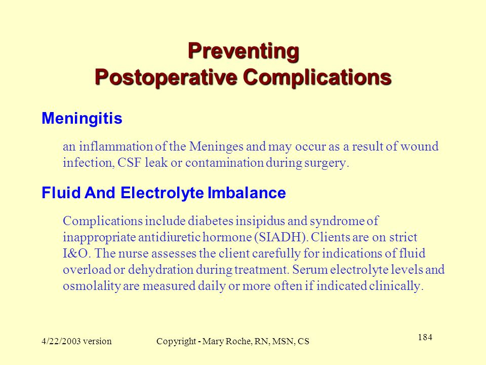 Preventing Postoperative Complications