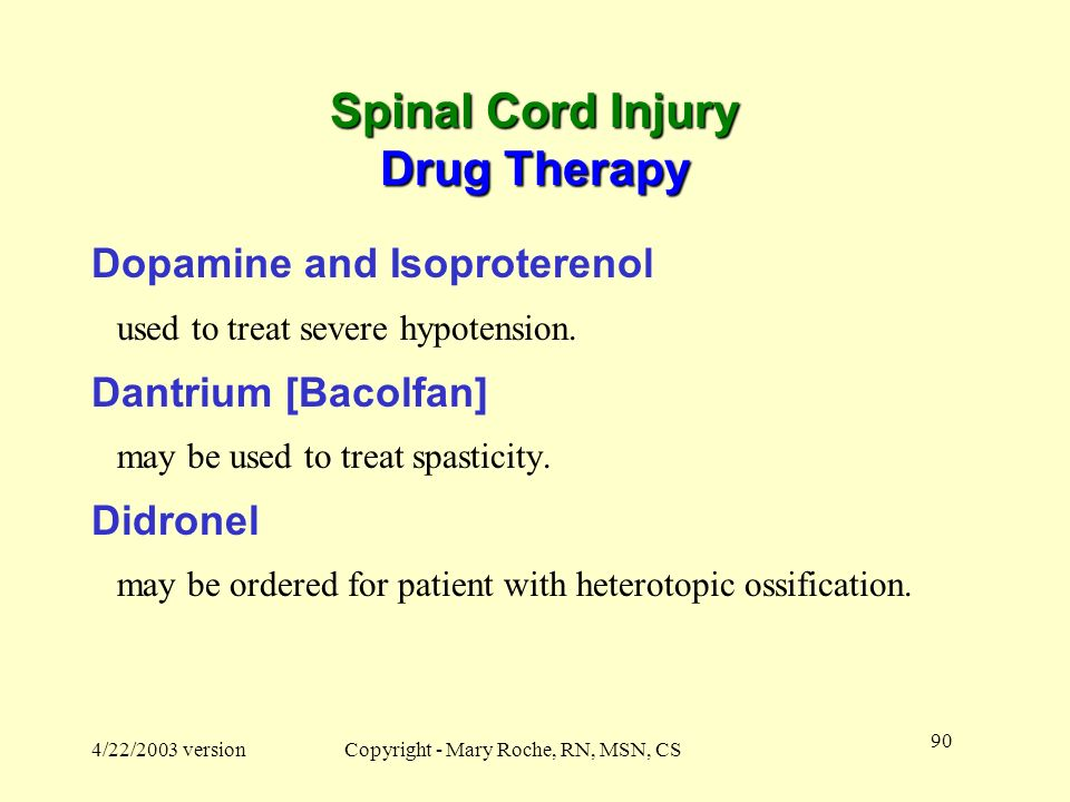 Spinal Cord Injury Drug Therapy