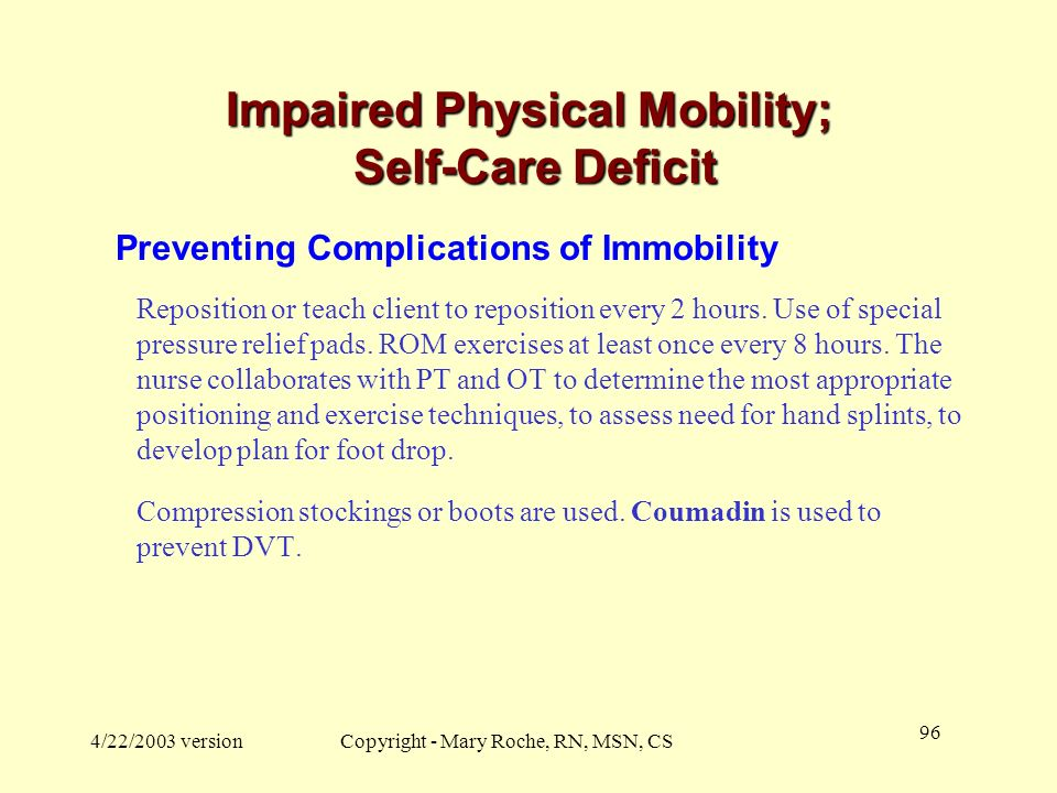 Impaired Physical Mobility; Self-Care Deficit
