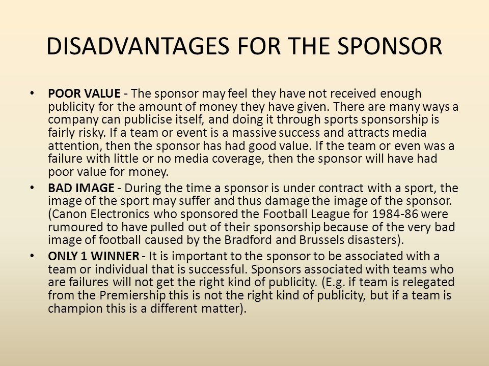 advantages and disadvantages of alcohol sponsorship in sport