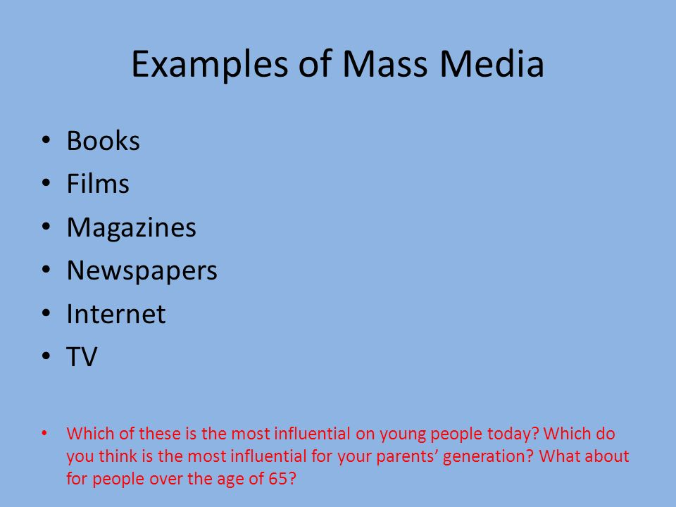 what are some examples of mass media