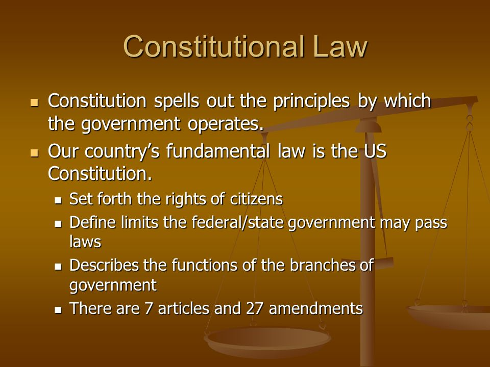 Constitutional Law Constitution spells out the principles by which the government operates. Our country's fundamental law is the US Constitution.