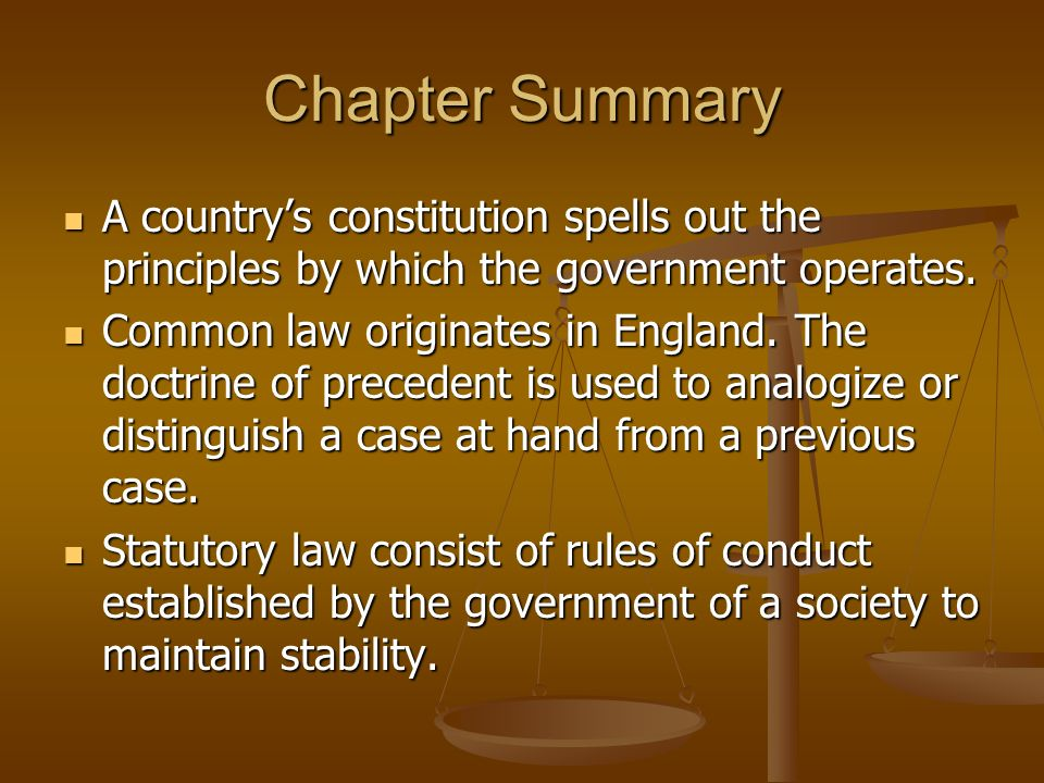 Chapter Summary A country's constitution spells out the principles by which the government operates.