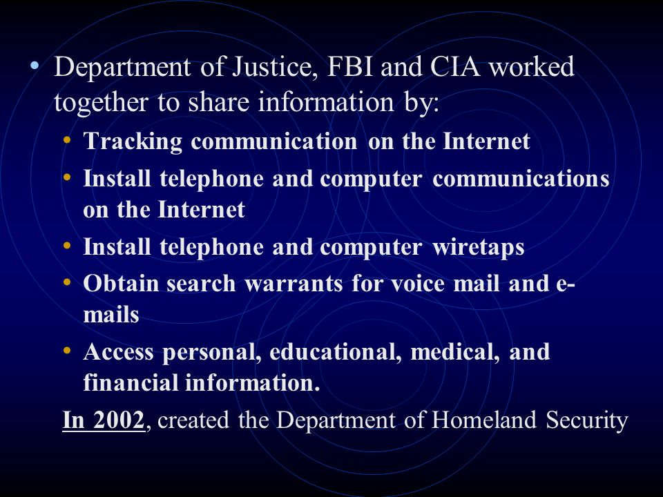 Department of Justice, FBI and CIA worked together to share information by:
