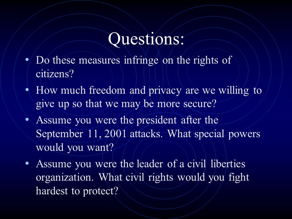 Questions: Do these measures infringe on the rights of citizens