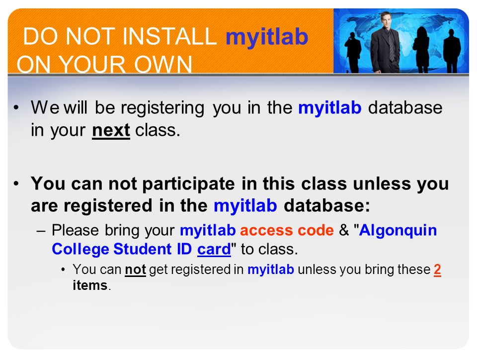 Welcome to bus ppt video online download do not install myitlab on your own fandeluxe Images