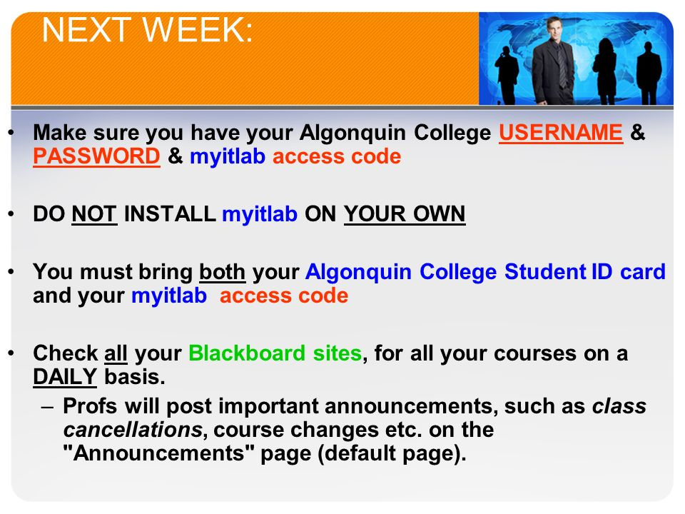Welcome to bus ppt video online download next week make sure you have your algonquin college username password myitlab access fandeluxe Choice Image