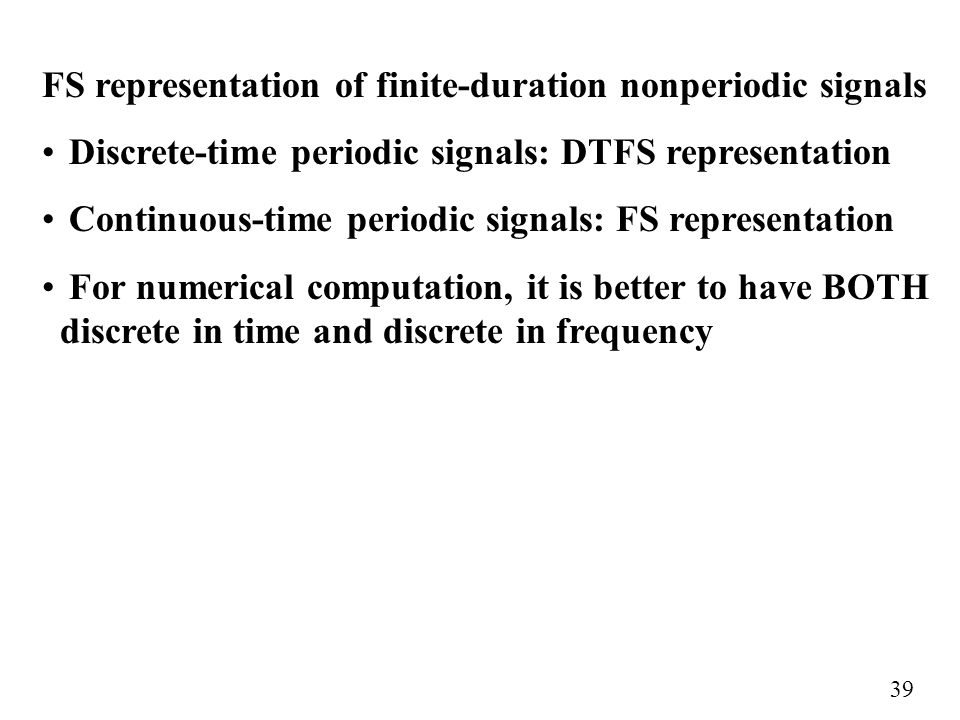 FS representation of finite-duration nonperiodic signals