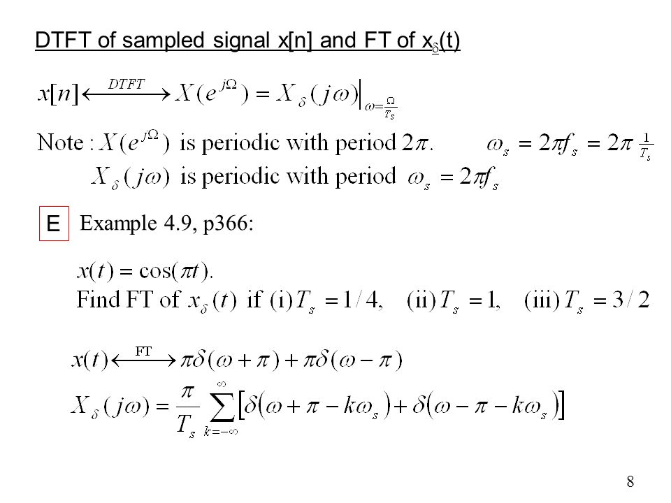 DTFT of sampled signal x[n] and FT of xd(t)