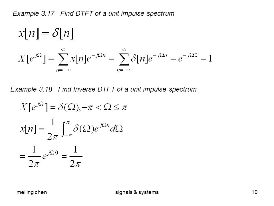 Example 3.17 Find DTFT of a unit impulse spectrum
