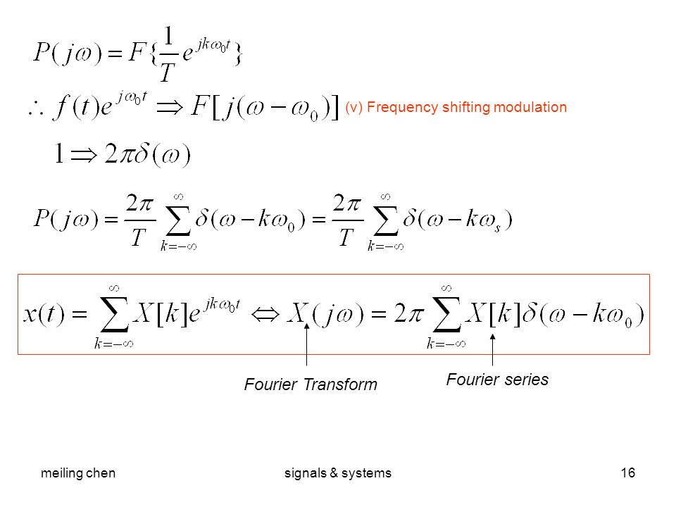 Fourier series Fourier Transform (v) Frequency shifting modulation