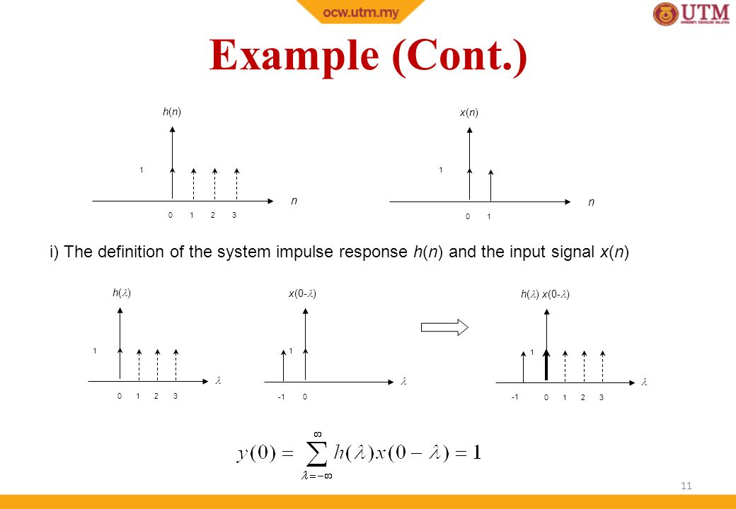 Example (Cont.) x(n) n. 1. h(n) i) The definition of the system impulse response h(n) and the input signal x(n)