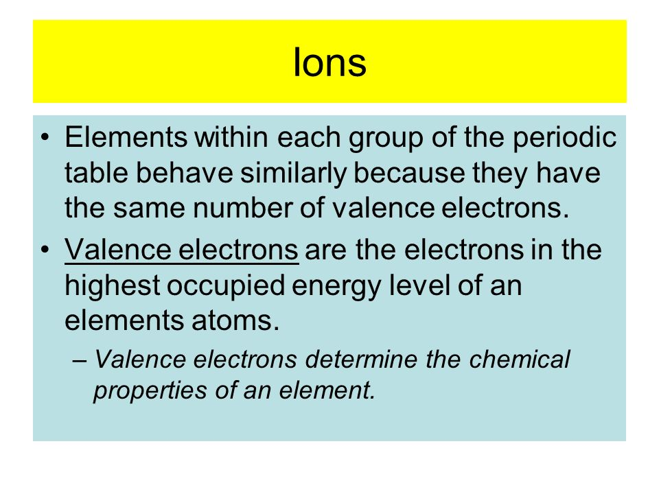 Ions Elements within each group of the periodic table behave similarly because they have the same number of valence electrons.