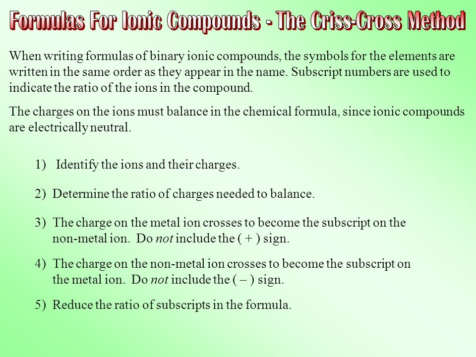 criss cross method for chemical formulas I am reading this wikipedia article that i don't understand what i don't understand is: i tried to understand this method as: i think this method comes from the fact of charge neutrality.