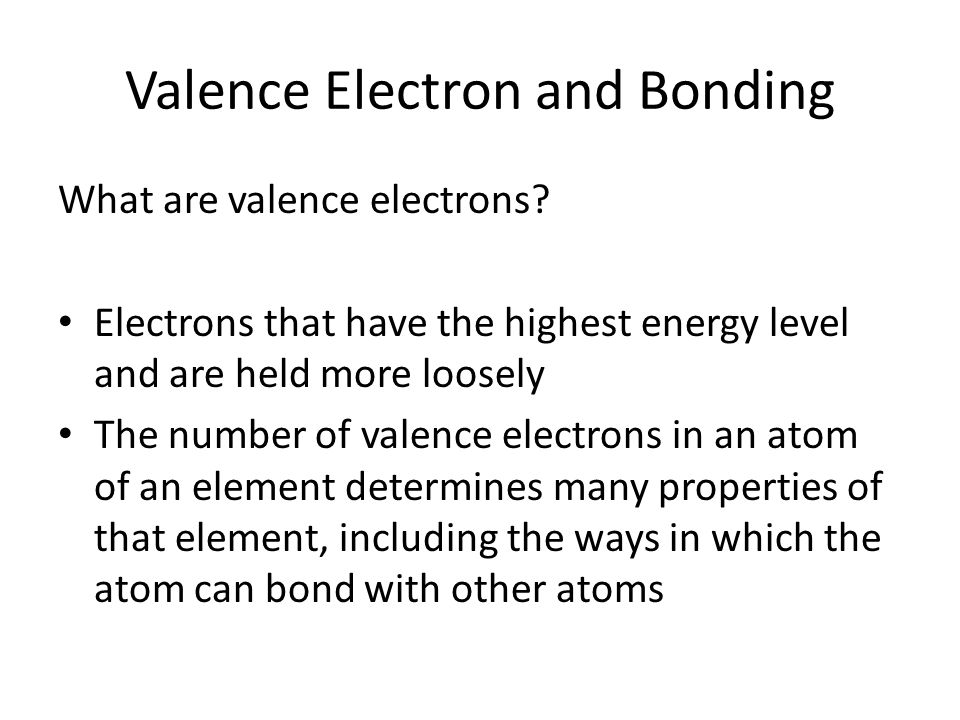 Valence Electron and Bonding