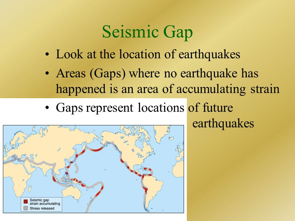 Seismic Gap Look at the location of earthquakes