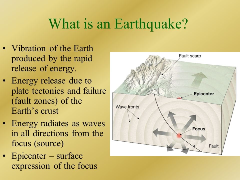 What is an Earthquake Vibration of the Earth produced by the rapid release of energy.