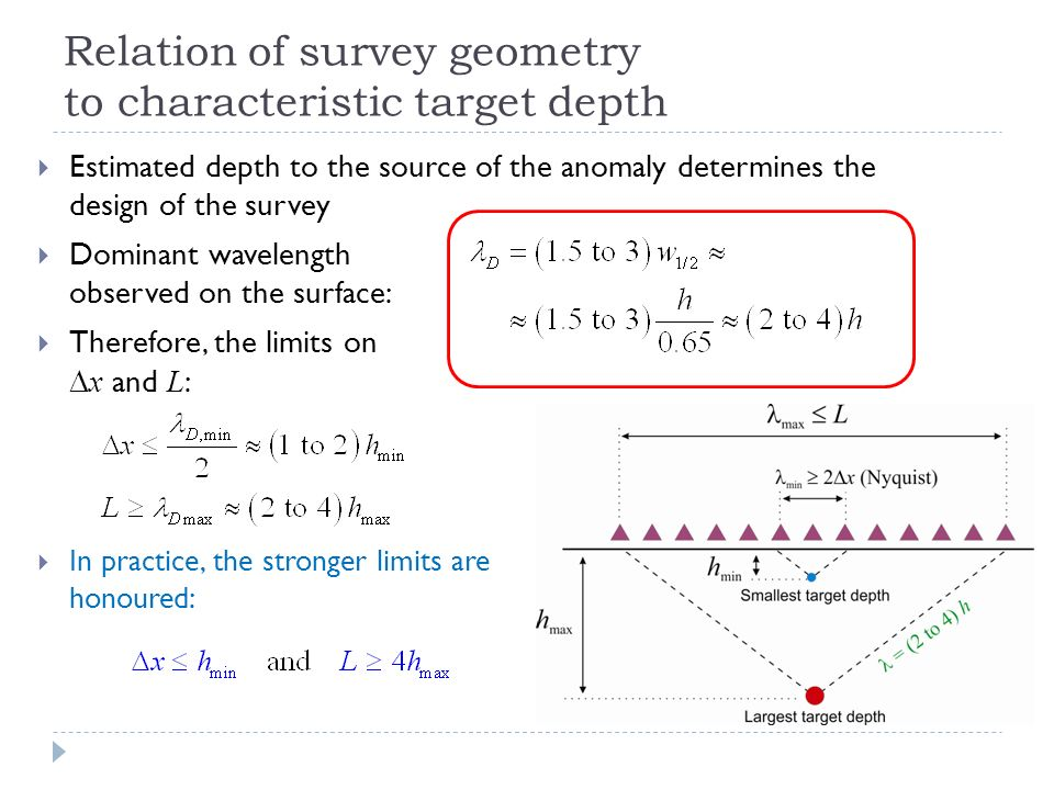 Relation of survey geometry to characteristic target depth