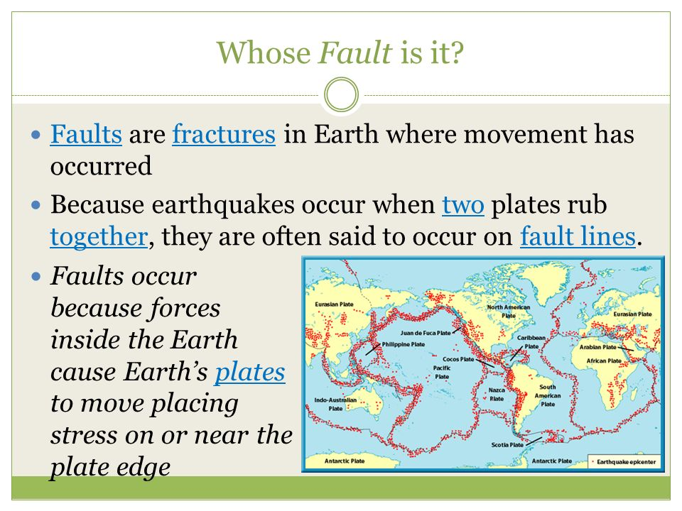 Whose Fault is it Faults are fractures in Earth where movement has occurred.