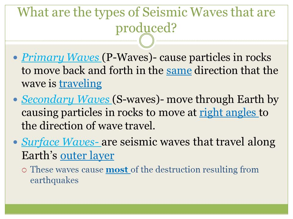 What are the types of Seismic Waves that are produced