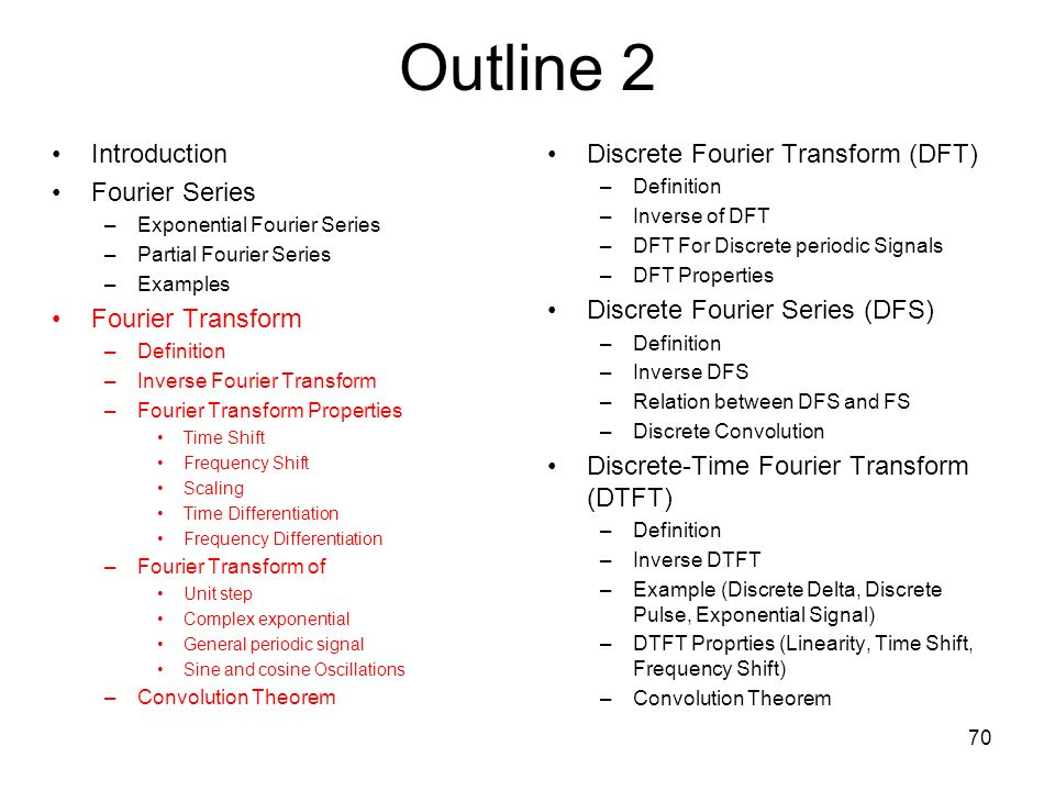 Outline 2 Introduction Fourier Series Fourier Transform