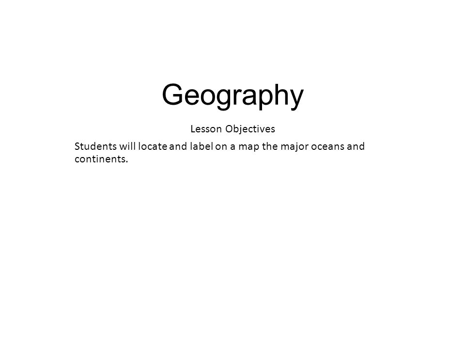 Geography Lesson Objectives