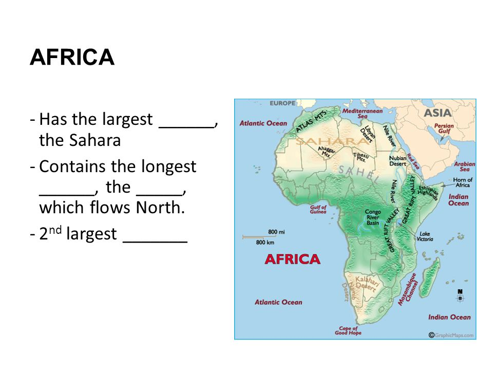 AFRICA Has the largest ______, the Sahara