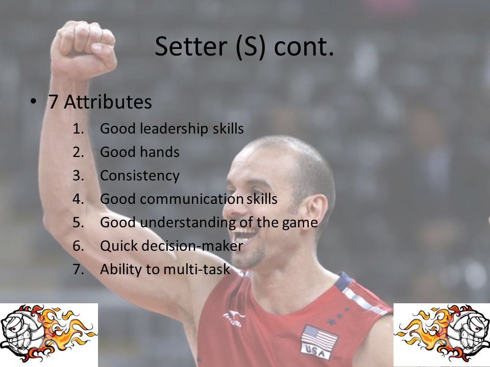Setter (S) cont. 7 Attributes Good leadership skills Good hands