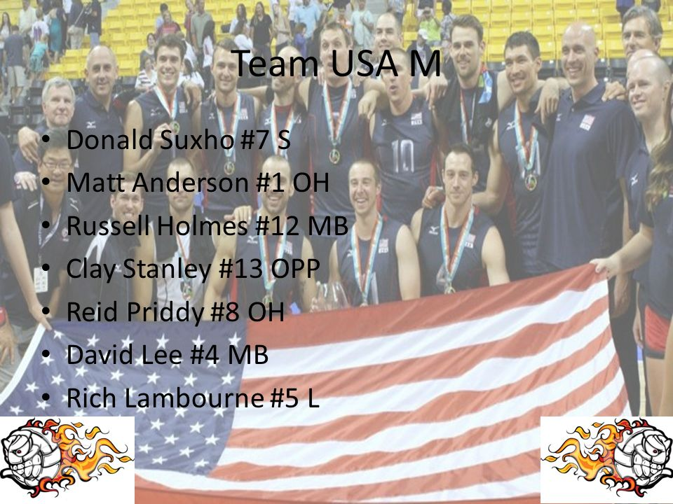 Team USA M Donald Suxho #7 S Matt Anderson #1 OH Russell Holmes #12 MB