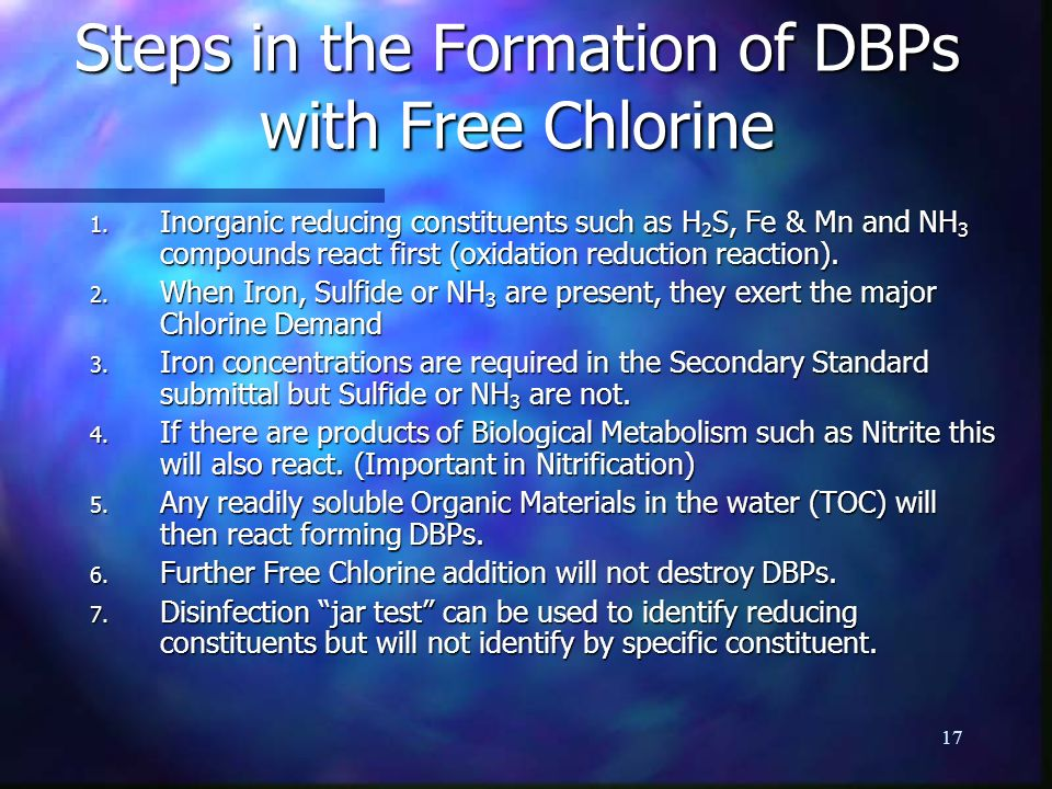 Steps in the Formation of DBPs with Free Chlorine