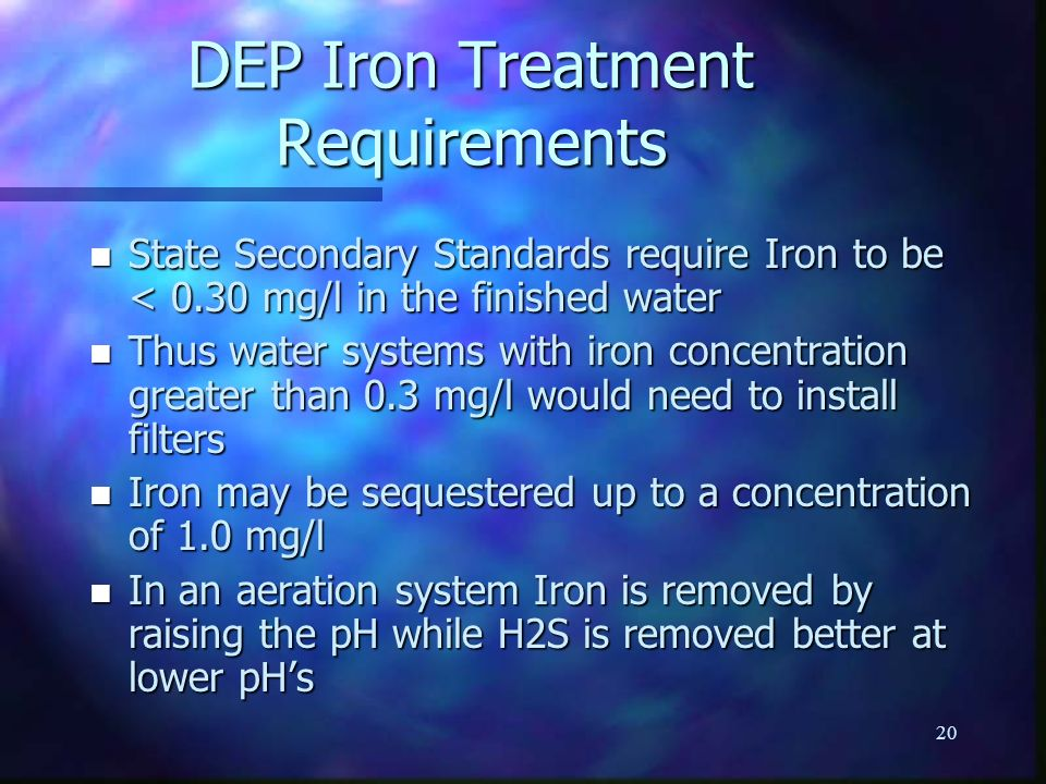 DEP Iron Treatment Requirements