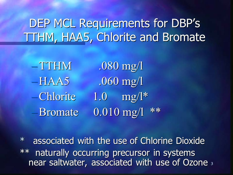 DEP MCL Requirements for DBP's TTHM, HAA5, Chlorite and Bromate