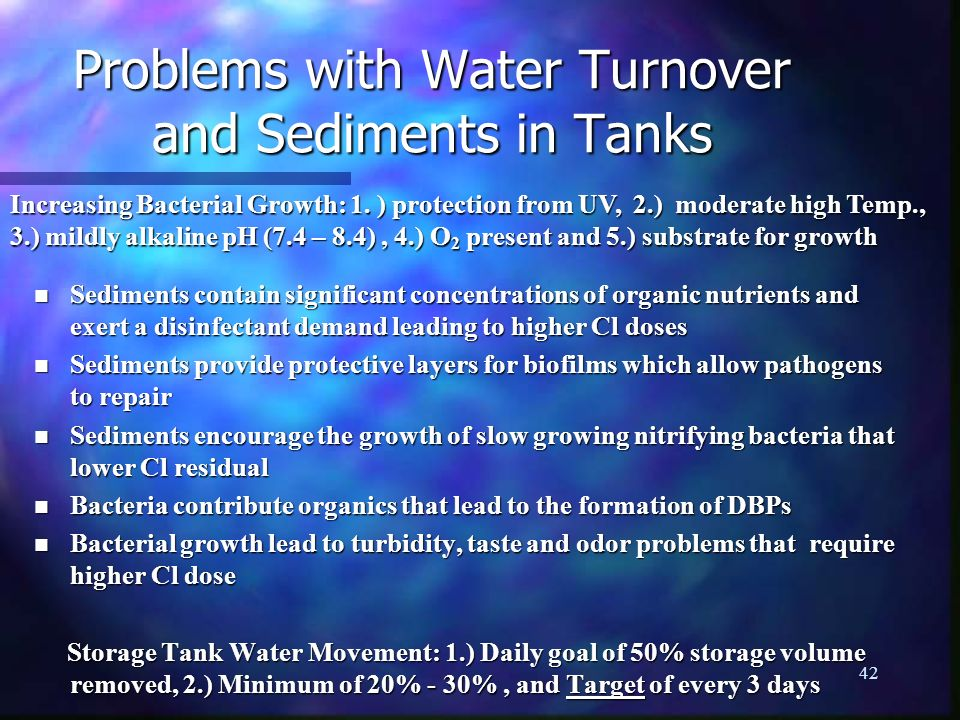 Problems with Water Turnover and Sediments in Tanks