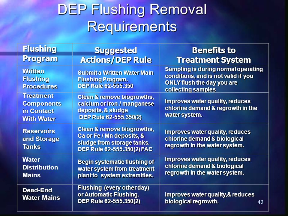 DEP Flushing Removal Requirements