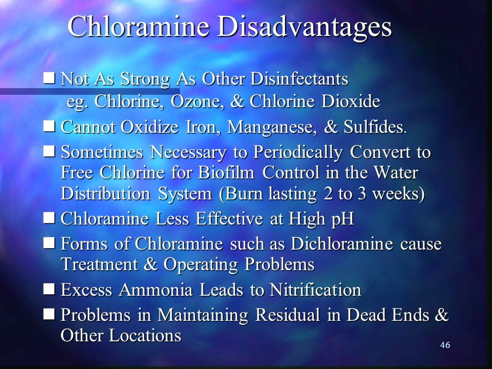 Chloramine Disadvantages