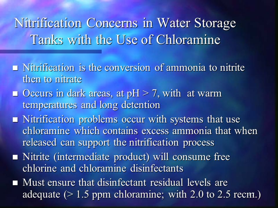 Nitrification Concerns in Water Storage Tanks with the Use of Chloramine