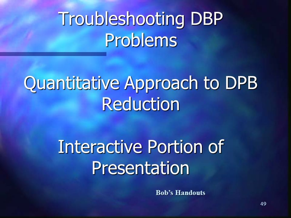 So far we have used only qualitative approaches to control the development of DBP compounds. The qualitative approach consists of adhering to treatment techniques and operations that have been shown to be successful in reducing DBP concentrations. These consists of general rules for keeping free chlorine residuals in check, reducing precursors by sound treatment techniques and reducing contact time by state regulated flushing programs and sediment removal.