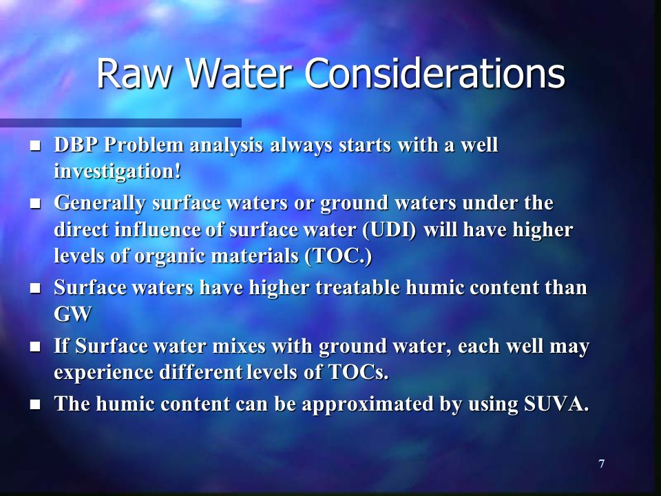 Raw Water Considerations