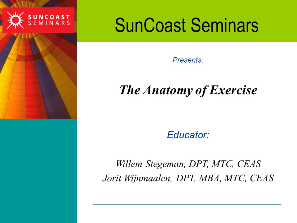 The Anatomy of Exercise - ppt download