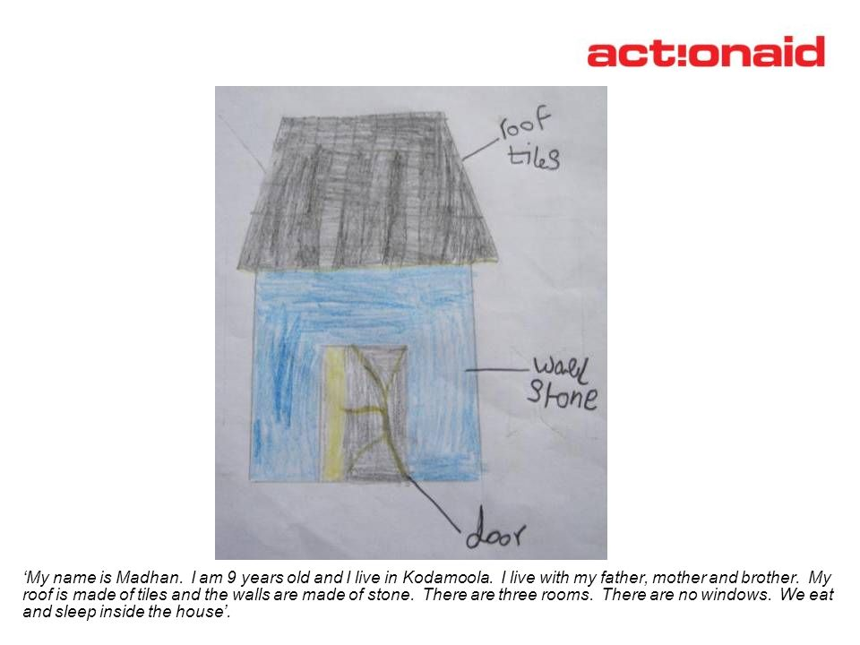 Madhan's drawing of a tiled roof house