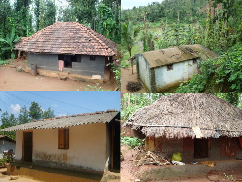 Chembakolli is one of many Adivasi (tribal) villages in the forest around the Nilgiri Hills, south India. There are over 100 houses, connected by paths winding up and down the valley. Adivasi housing is similar across the villages. There are four main types of housing in villages like Chembakolli.