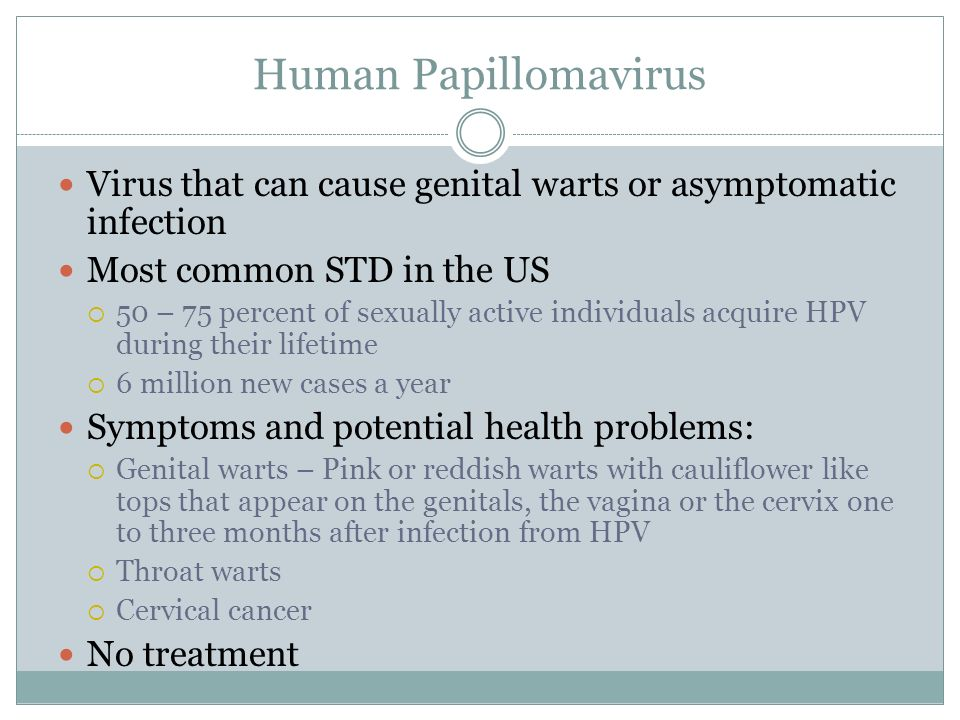 Human Papillomavirus Virus that can cause genital warts or asymptomatic infection. Most common STD in the US.