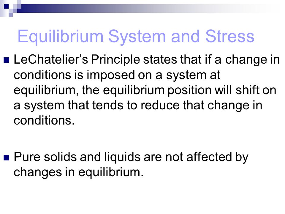 Equilibrium System and Stress