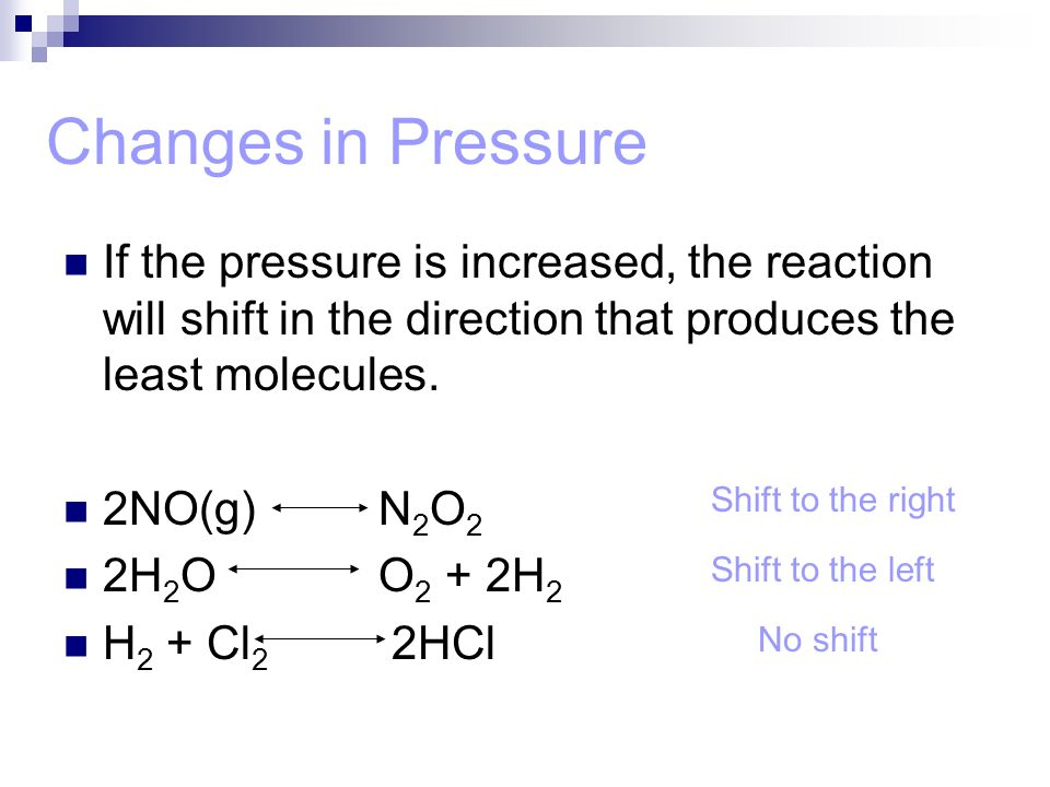 Changes in Pressure If the pressure is increased, the reaction will shift in the direction that produces the least molecules.