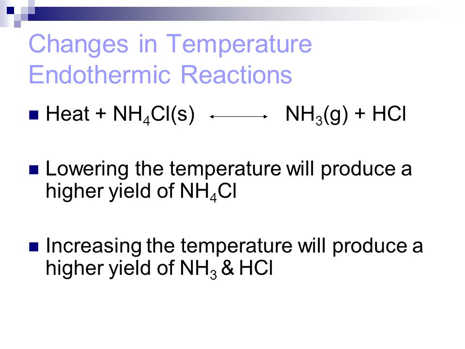 Changes in Temperature Endothermic Reactions
