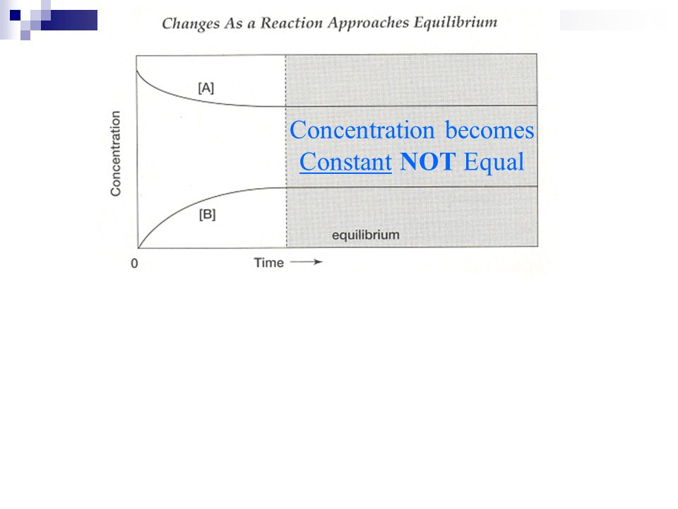 Concentration becomes Constant NOT Equal