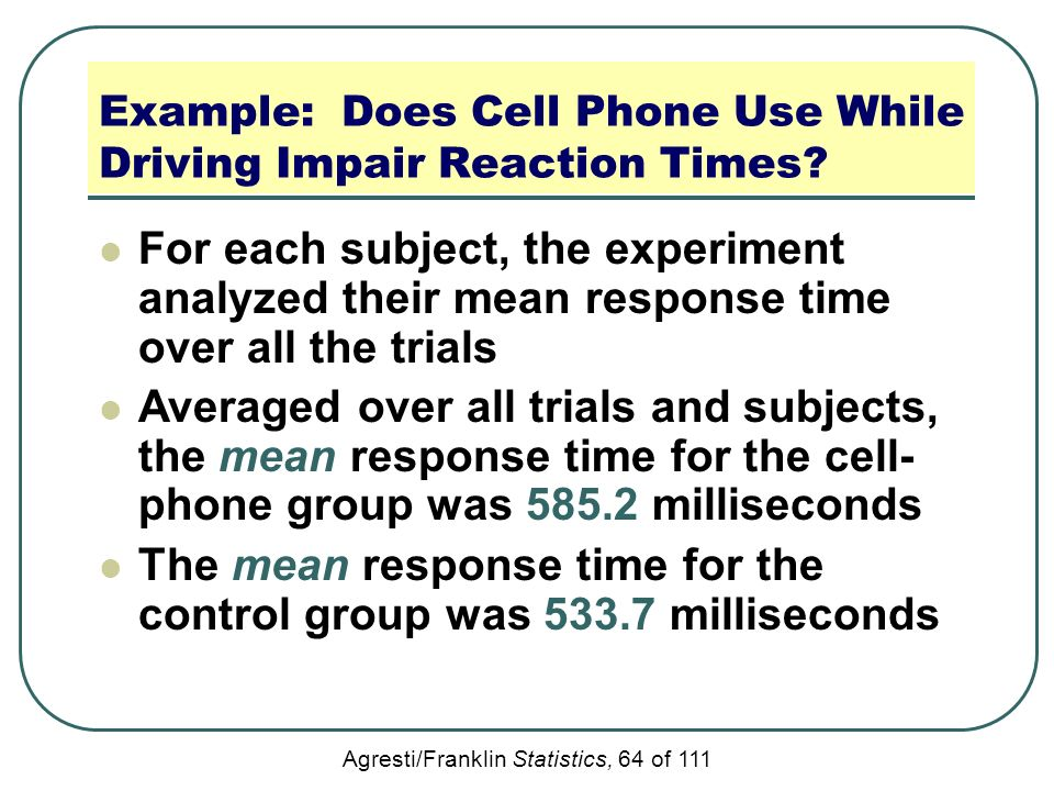 cell phone reaction time experiment